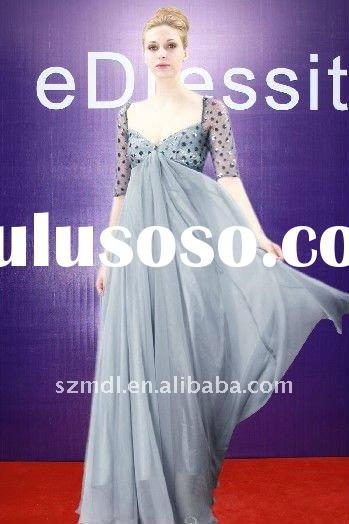 Dark Navy Mid Sleeve Long Chiffon Evening Dress 2011