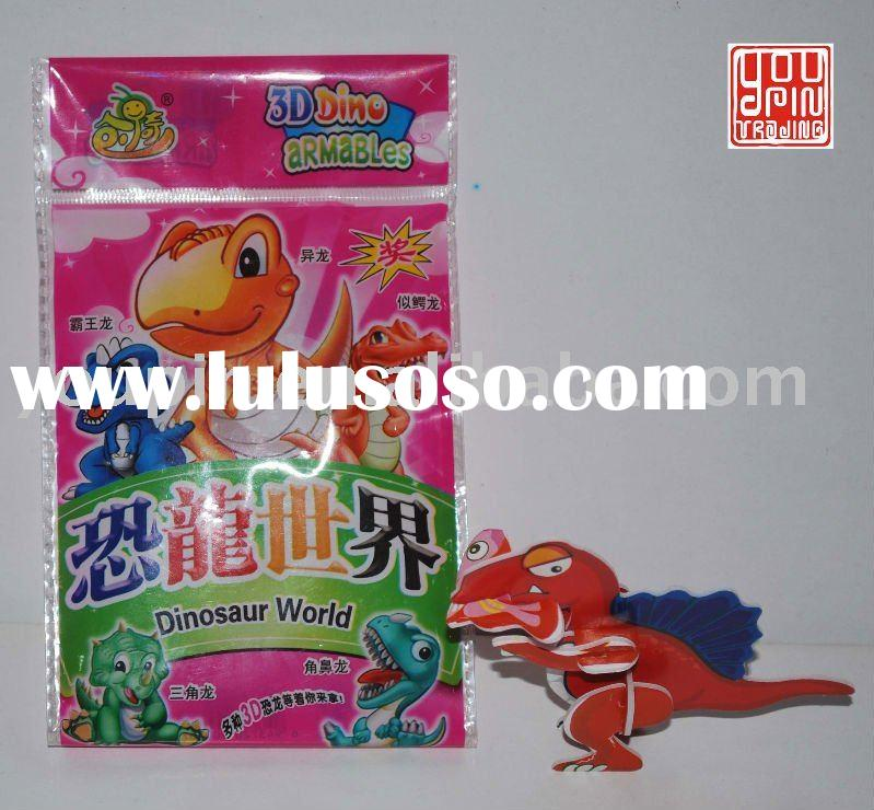 Dinosaur World (3D Puzzle Card & Bubble Gum with Tattoo)