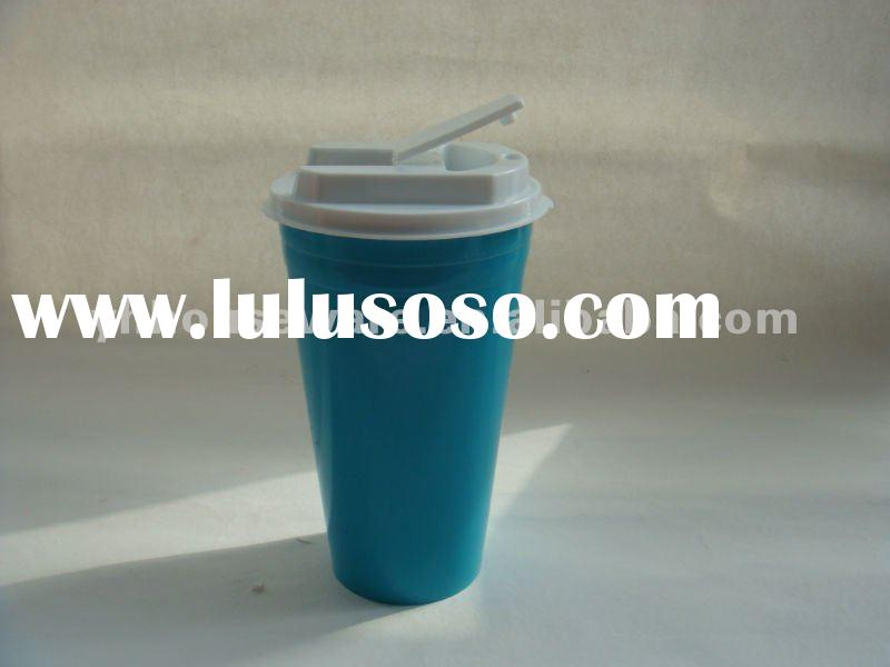 Eco-friendly 16OZ Double wall plastic coffee cup with lid