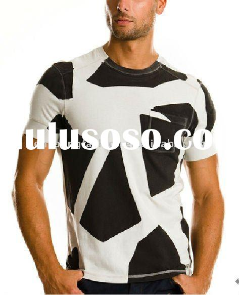 Europen style men's cotton spandex round neck short sleeve fitness t shirt