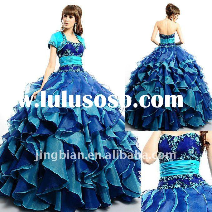 Fanciful Ball Gown Prom Dress with a gathered band and beaded embroidery New Royal Blue Quinceanera