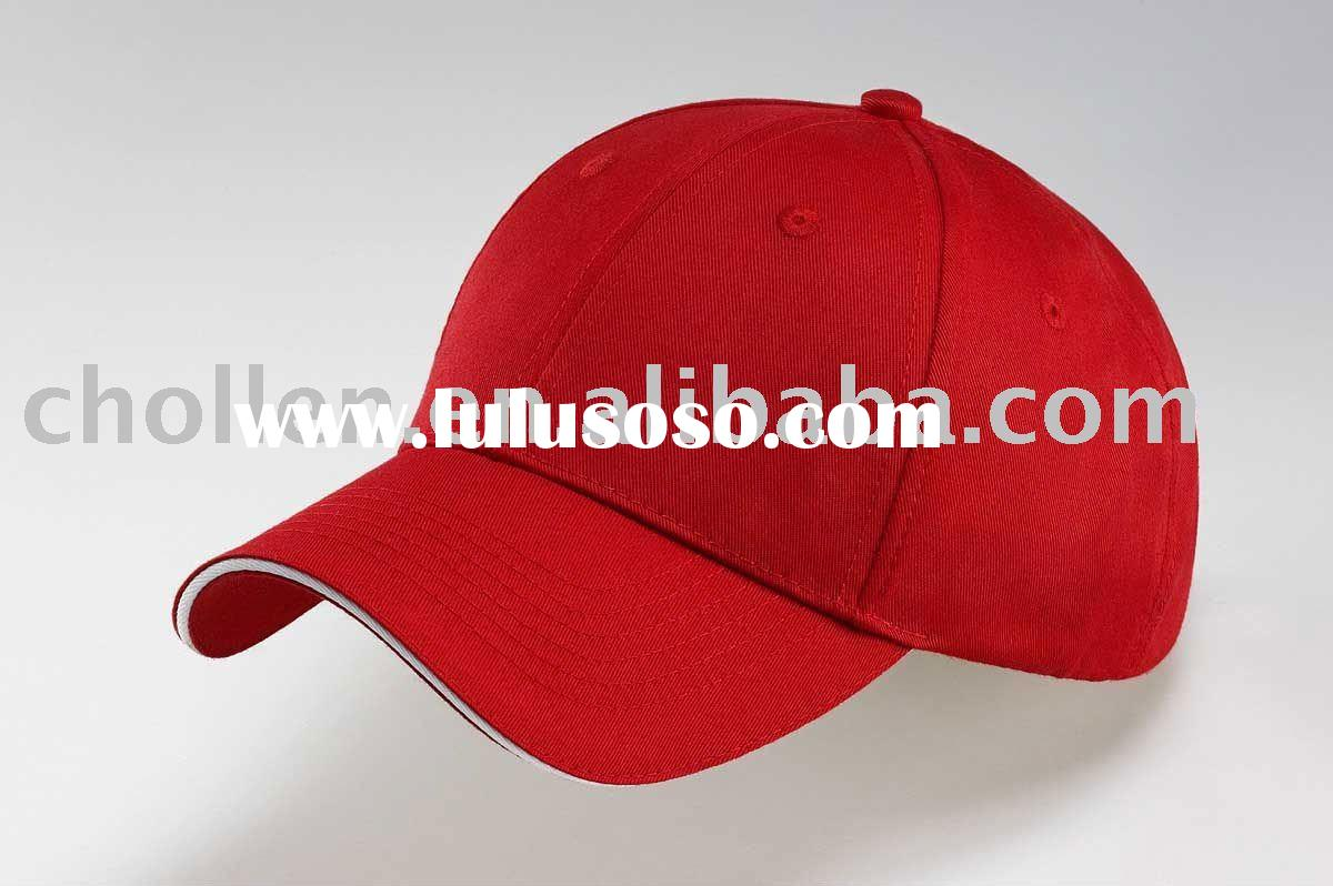 Fitted baseball cap with embroidery and metal button