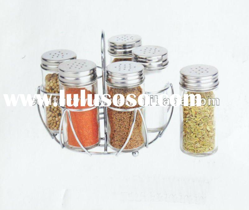 Glass Spice Jar with metal stand