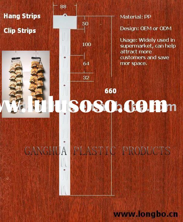 Hang strips for retail stores