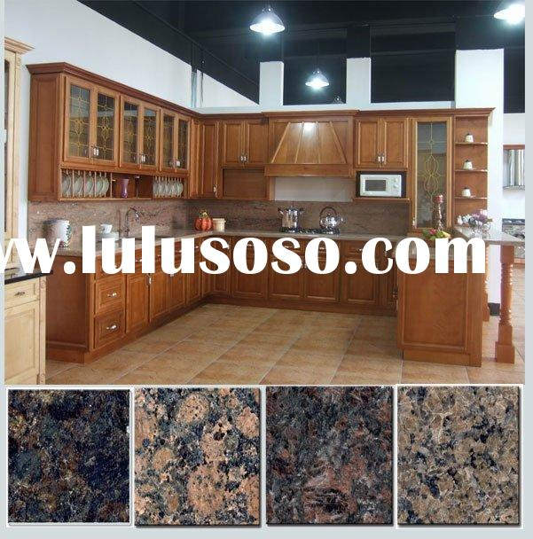 Kitchen Cabinets with Granite Countertops and Stainless Steel Sinks(Cherry Kitchen Furniture)