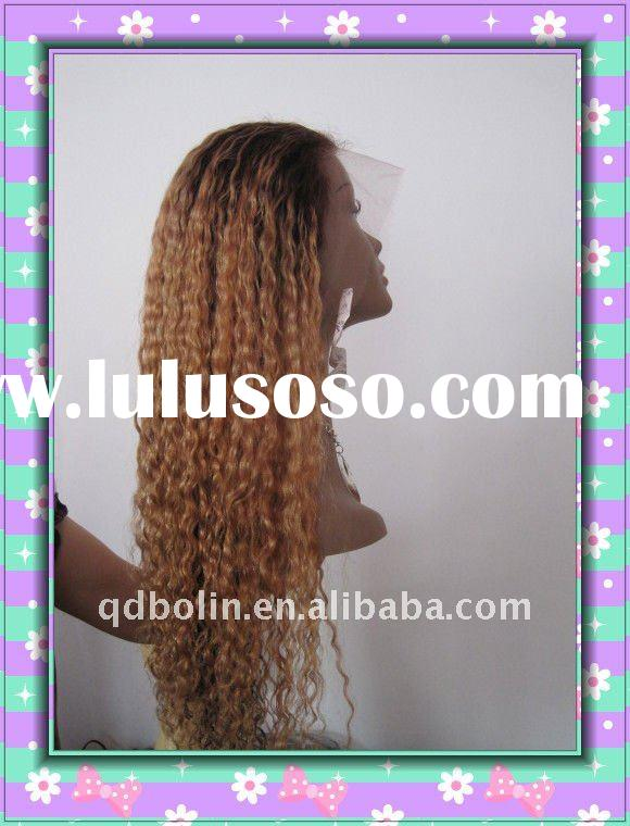 LONG JERRY CURL HOT LADY TOP SALE REAL INDIAN HUMAN HAIR RED CURLY WIGS