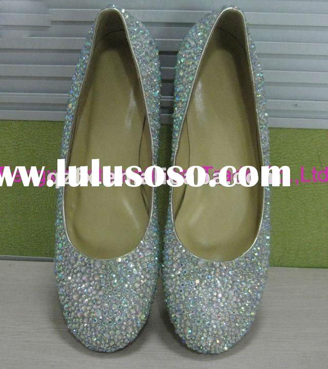 Lady Fashion Designer Ballet Crystal Flat Wedding Party Shoes