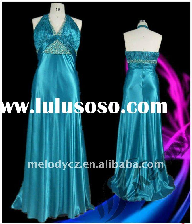 MD505 Blue Plus Size Halter Pleated Long Evening Dress