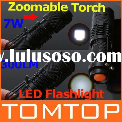Mini LED Torch 7W 300LM CREE Q5 LED Flashlight Adjustable Focus Zoom Light