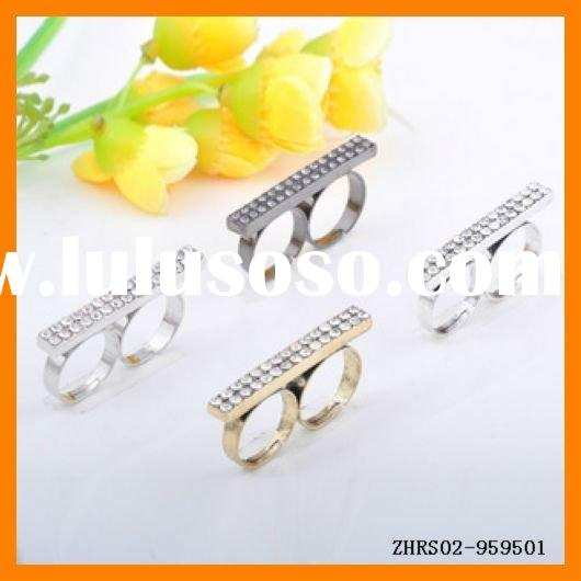 New Jewelry Alloy Rhinestone Double Finger Ring ZHRS02-959501