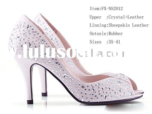 OEM Crystal wedding shoes, high heel bridal shoes