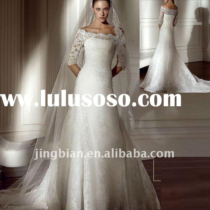 Off the shoulder wedding dress with 3/4 sleeves lace bridal allure wedding dresses SC595