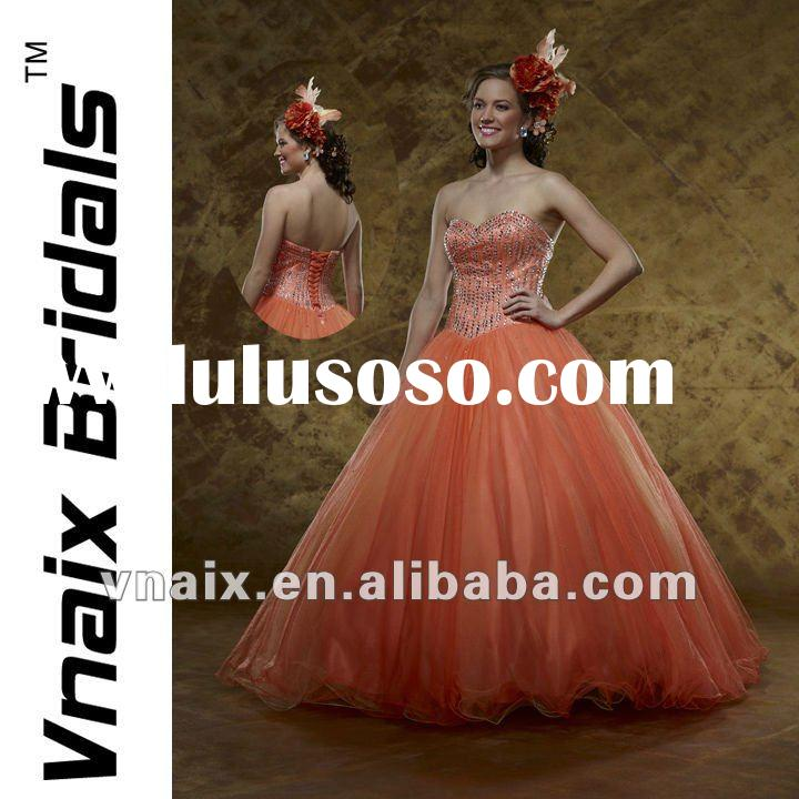 Q0040 2012 Ball Gown Beaded Organza Basque Quinceanera Dress Orange