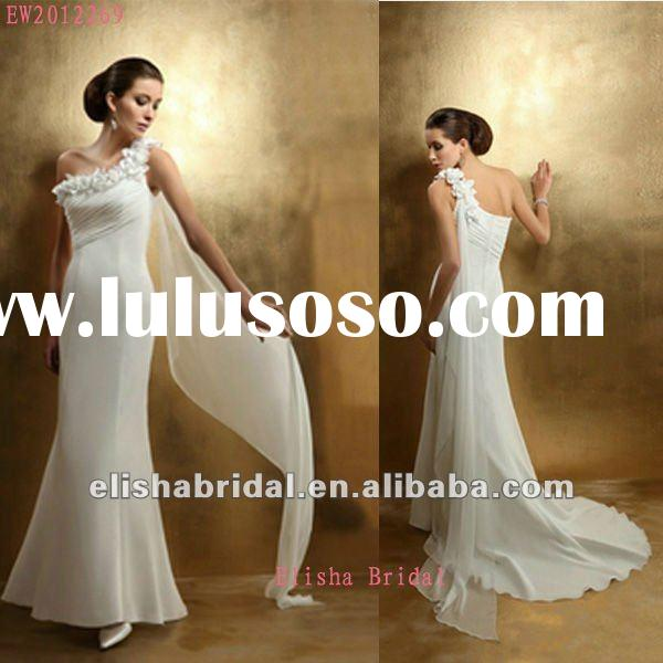 Romantic One Shoulder Grecian Style Wedding Dresses With 3D floral