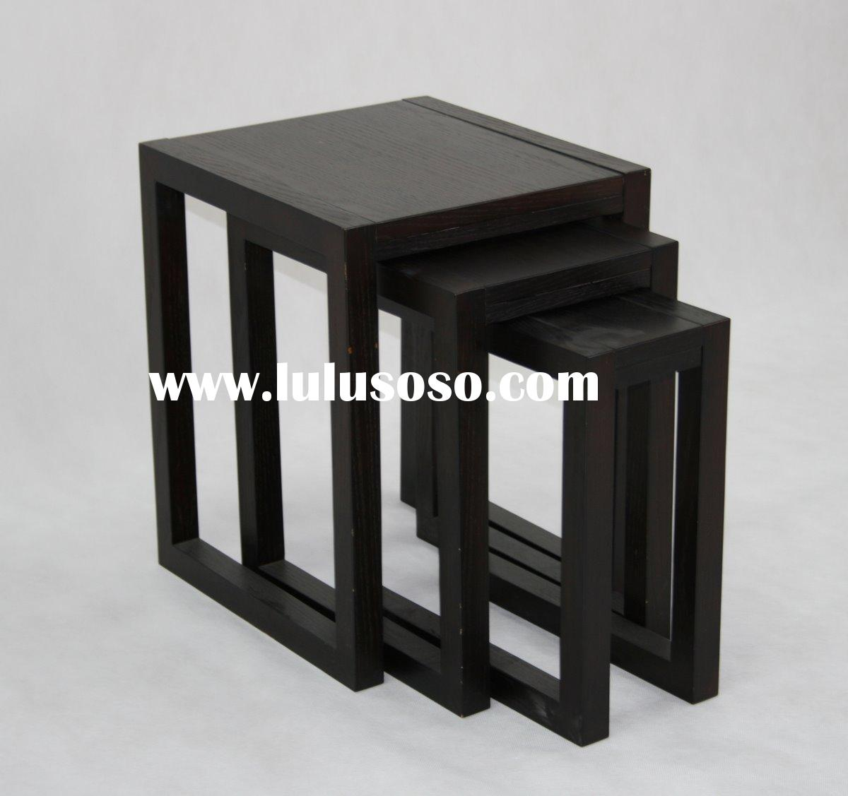 Solid Wood Furniture Of Black Color Nesting Table As Side Table. Full resolution  photograph, nominally Width 1200 Height 1127 pixels, photograph with #201E1C.