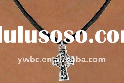 Silver cross with black leather cord fashion necklace jewelry(A100596)