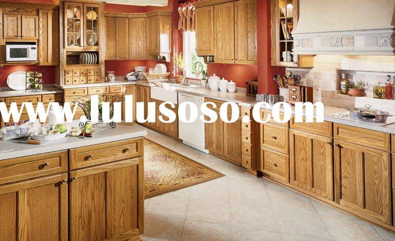Standard Solid Oak Wood Kitchen Cabinets,Kitchen Furniture with Granite Counter Top and Stainless St