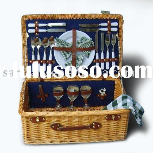 Tableware of four people Knives, forks teaspoons of plastic handle bamboo basket