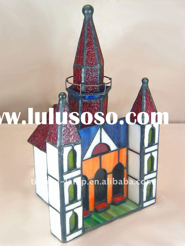 Tiffany glass gate tower accent lamp