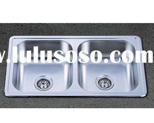 Top Mount Double Bowl Stainless Steel Sink (American Standard Kitchen Basin)