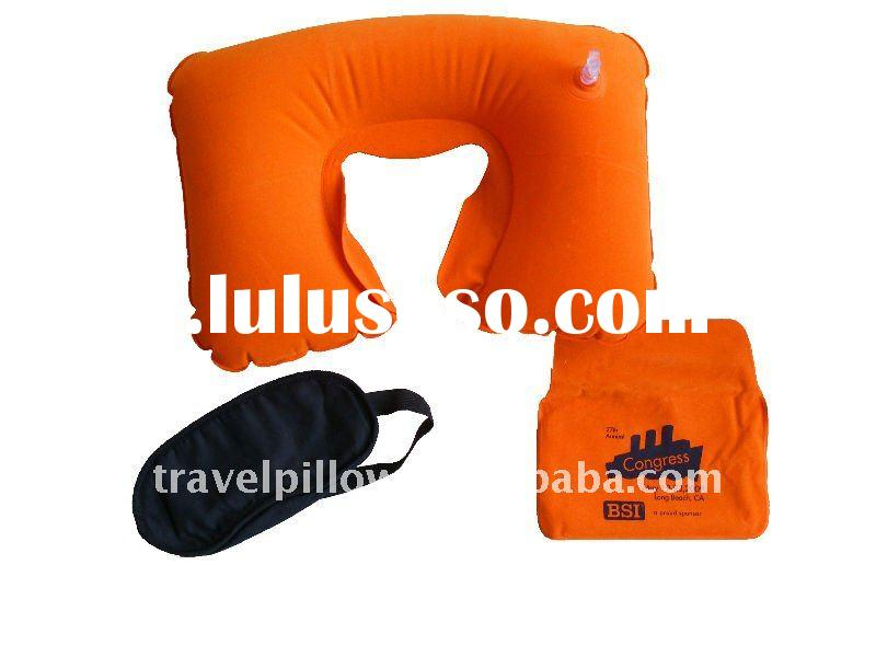 U-shaped Inflatable travel pillow +eye shade+pouch