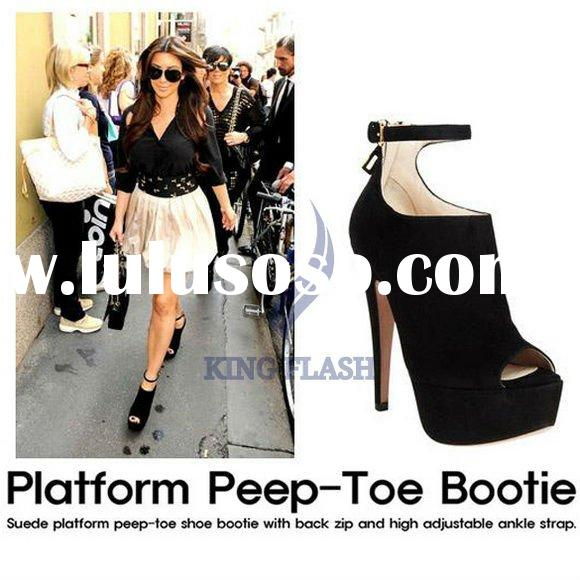 Vogue Women Platform Pumps High Heels Ankle Boots Shoes Black