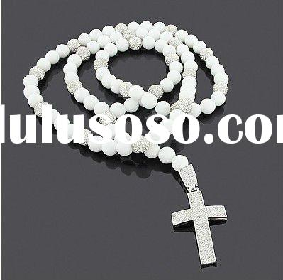 White Disco Ball Jewelry: Silver Cross Rosary Necklace with Crystals