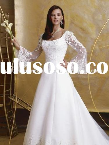 Wholesale cheap round neck zipper back high quality trumpet wedding dress/gown dressWB-3116