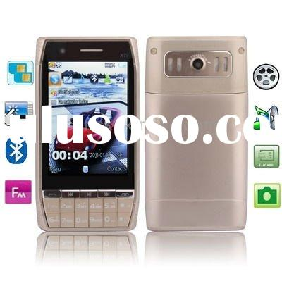 X7i Beige,Bluetooth FM Touch Screen Mobile Phone with Metal Back Cover,Dual sim cards Dual standby D