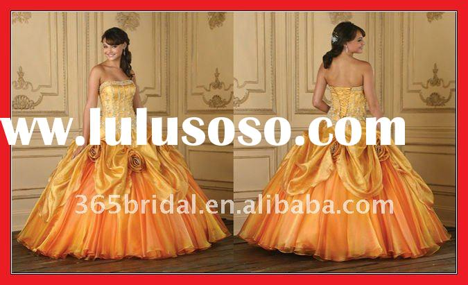 ZHX0528 Orange Flower Applique Pleated Taffeta Ball Gown 2012 Qinceanera Dresses