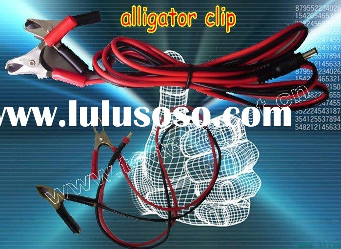 alligator clip, battery terminal clip, battery clamp with T plug and round plug
