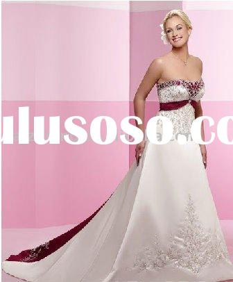best satin red ribbons embroidery bridal wedding dress&bridal gown 2011 hot