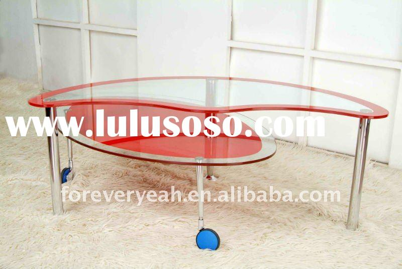 chrome metal frame and red glass coffee table