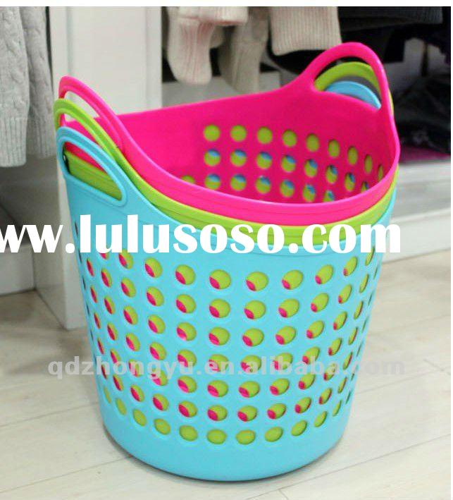 colorful round plastic flexible laundry baskets / handing shopping vegetable basket