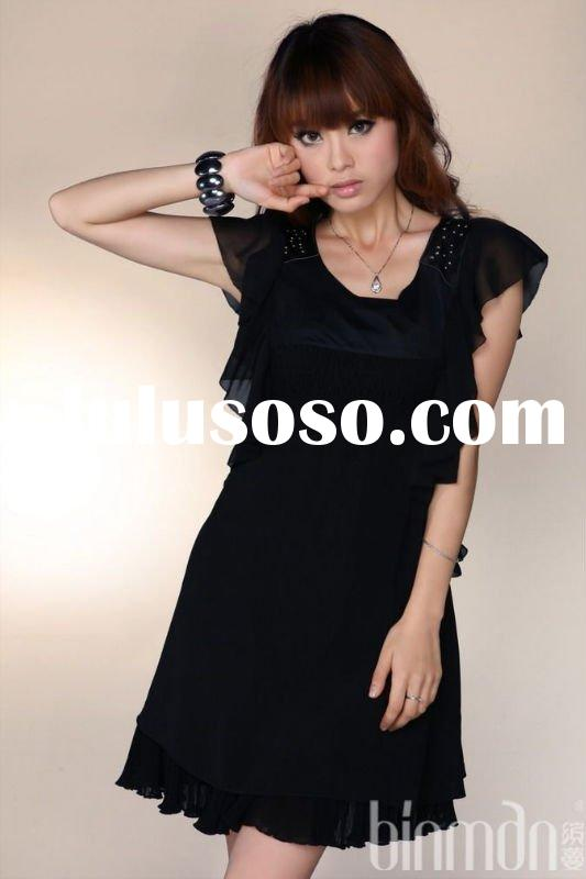 fashion short sleeve dress for young girls