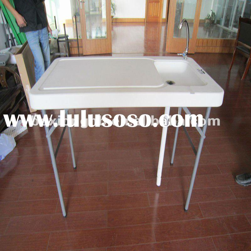 folding fish table outdoor, plastic blow molding table, outdoor table
