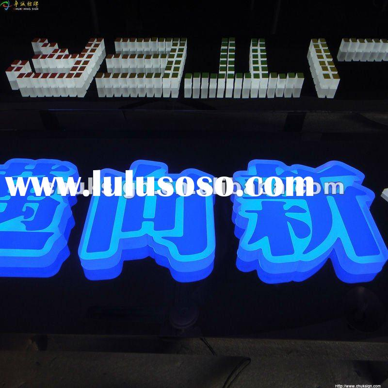 front and back light 3D acrylic channel letter with a backboard signs