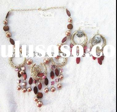 hot sale coral beads necklace jewelry set wholesale