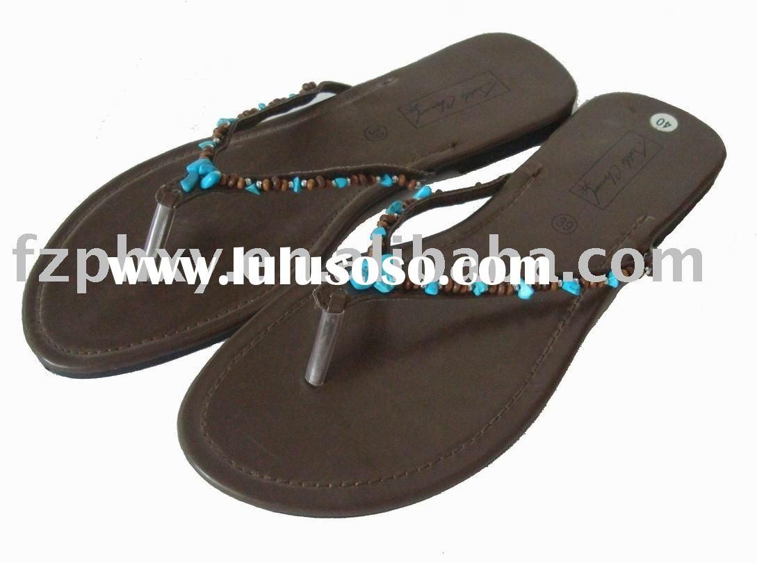 lady fashion leather slipper with stone handcraft decoration