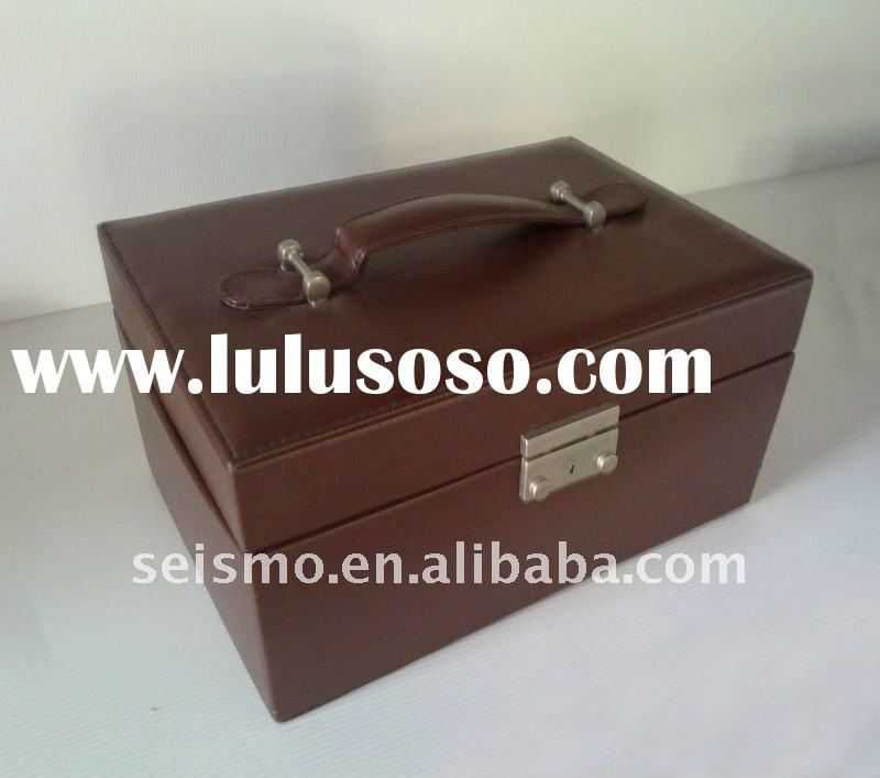 leather watch jewelry box,jewelry storage case with handle