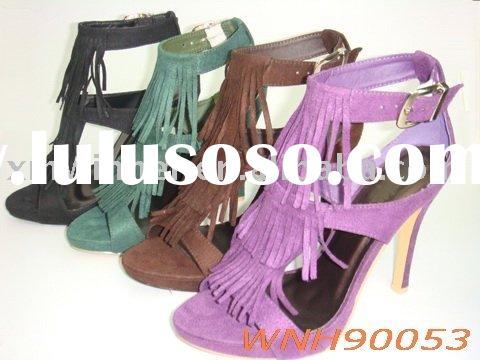 new style fringe fashion high heel woman shoes lady sandal