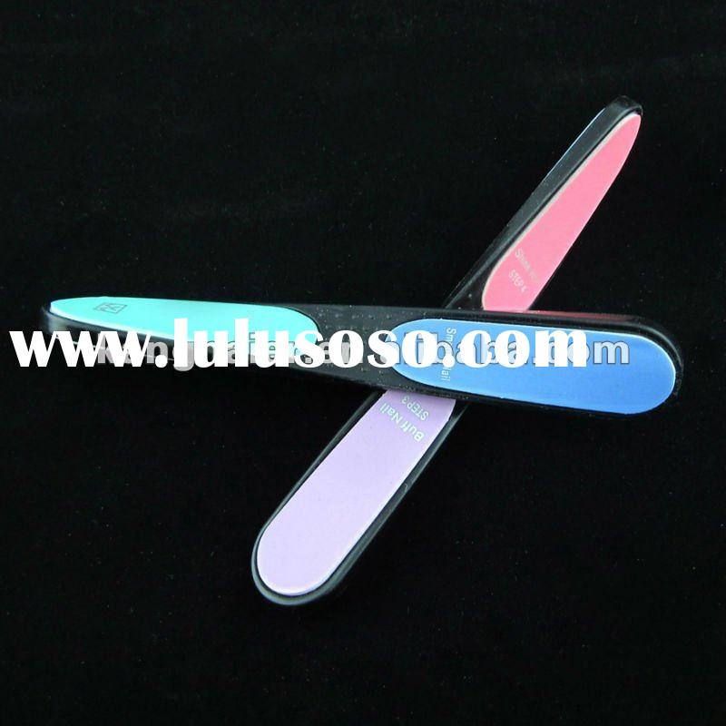 plastic nail buffer/plastic nail shiner/nail smoothing file/4 side nail file with shining/4 step nai