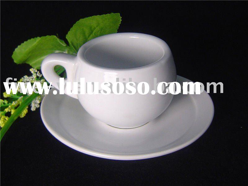 porcelain espresso cup and saucer with a special ear, thick wall