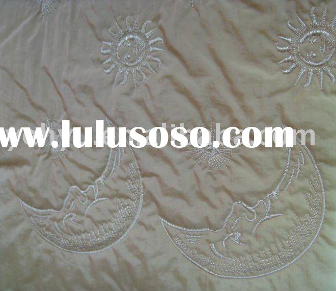 quilted embroidery fabrics with sun and moon embroidery patterns