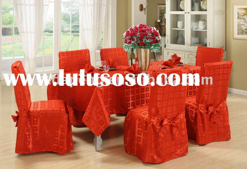 red jacquard chair cover with ribbon