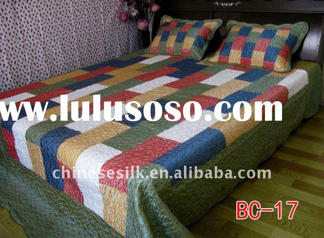 silk bed sheet, chinese design satin bed sheet, embroidery bed sheet