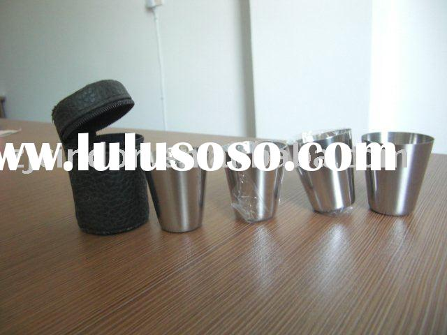 stainless steel shot glass set with leather cover