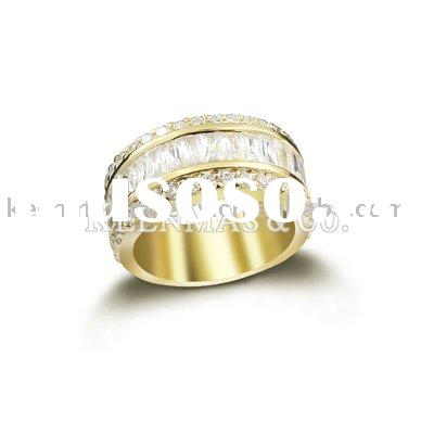 sterling silver ring with CZ with gold platin,jewellery manufacturer