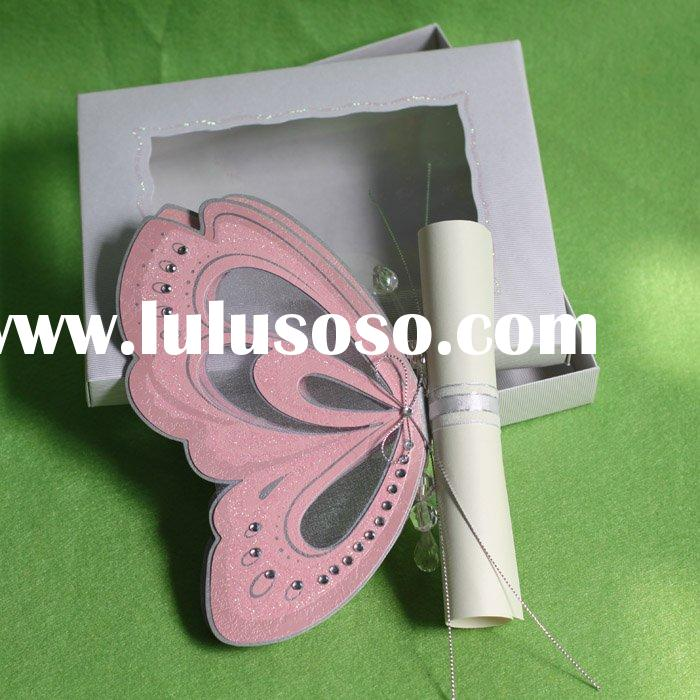 unique invitation card with scroll card holding great butterfly in a box-T192
