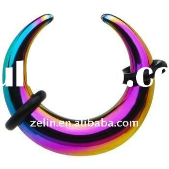 Fashion 2 Gauge Rainbow Anodized Titanium Buffalo Ear Tapers Earrings Body Piercing Jewelry